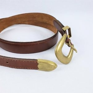 Womens M-L? Brown Leather Belt Solid Brass Buckle